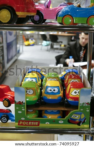 MOSCOW - MARCH 16: Toy cars beetle presented at the International Toy Specialized Exhibition March 16, 2011 in Moscow