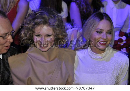 MOSCOW - MARCH 25: Veronique Basharatyan (L) and actress Ornella Muti (R) at front row waiting for the Basharatian F/W2012 runway show presentation during MBFW on March 25, 2012 in Moscow, Russia