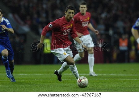 MOSCOW - MAY 21: Cristiano Ronaldo of Manchester United during the UEFA Champions League 2007/08 Final match Manchester United-Chelsea 1:1 (6:5 after the penalties). May 21, 2008, in Moscow, Russia