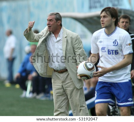 MOSCOW - MAY 15: FC Alania head coach Vladimir Shevchuk (L) during a game of the 11th round of Russian Football Premier League - Dinamo Moscow vs. Alania Vladikavkaz, May 15, 2010 in Moscow, Russia.