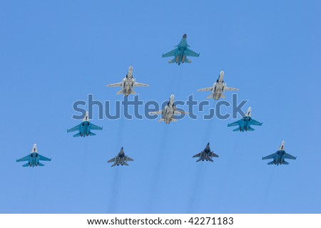 MOSCOW - May 9: Group of interceptors on winning parade on Red Square on May 09, 2009 in Moscow, Russia - stock photo