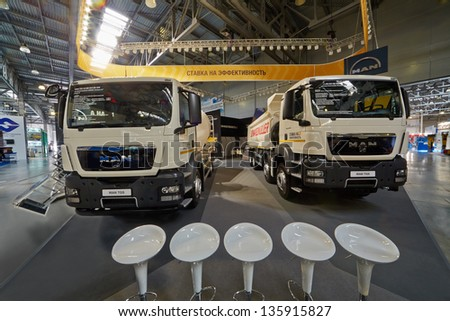 MOSCOW - MAY 29: MAN trucks at 13th International Specialized Exhibition of Construction Equipment and Technologies 2012 at international exhibition center Crocus Expo, May 29, 2012, Moscow, Russia.