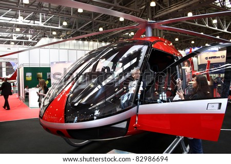 MOSCOW - MAY 19: Marenco swiss helicopter prototype at the international exhibition of  the helicopter industry, HeliRussia on May 19, 2011 in Moscow. Unidentified people