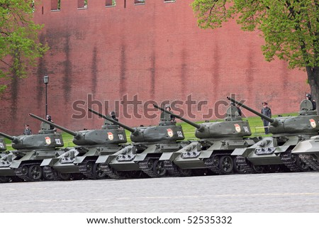 MOSCOW - MAY 6: Military vehicles stand by at Red Square, on May 6, 2010 in Moscow. The rehearsal is to celebrate the upcoming 65th Anniversary of Victory Day (WWII) on May 9th.