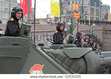 MOSCOW - MAY 6: Military vehicles stand by on Vasilevsky descent near to Red Square, on May 6, 2010 in Moscow. The rehearsal is to celebrate the upcoming 65th Anniversary of Victory Day (WWII) on May 9.