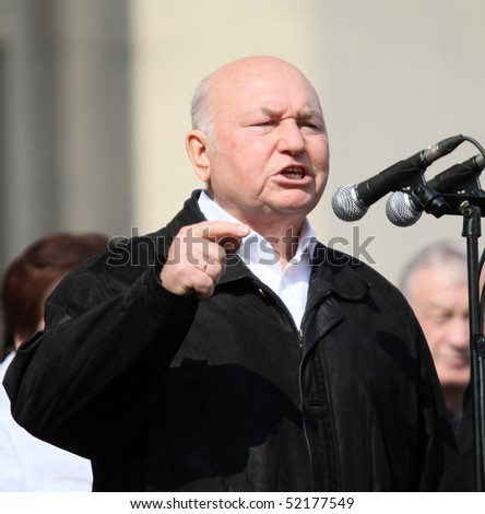 MOSCOW - MAY 1: Moscow Mayor Yuri Luzhkov gestures as United Russia party and government-linked trade unions take to the streets to mark May Day, May 1, 2010 in Moscow, Russia.