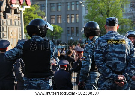 MOSCOW  MAY 7: Riot police at an opposition protest against president Putin�s inauguration on May 7, 2012 in Moscow, Russia.