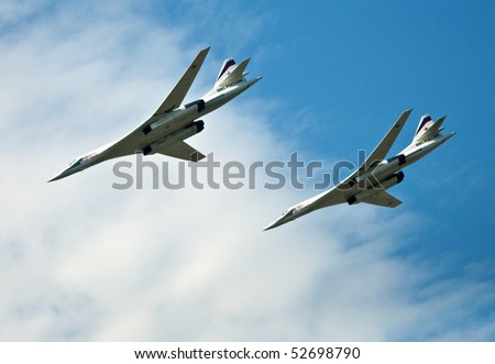 MOSCOW- MAY 9: Russian supersonic bomber Tu-22M during aviation parade dedicated to the 65th anniversary of victory in the Great Patriotic War May 9, 2010, Moscow, Russia