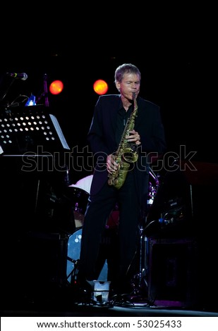 "MOSCOW - MAY 13: Saxophonist David Sanborn. Concert in the Concert hall ""Crocus City Hall"" on May 13, 2010 in Moscow, Russia"