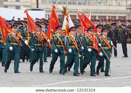 MOSCOW - MAY 6: Soldiers participate in a review dress rehearsal on May 6, 2010 in Moscow. The rehearsal is to celebrate the upcoming 65th Anniversary of Victory Day (WWII) on May 9th.