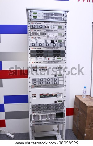 MOSCOW-MAY 11: Telecommunication, server rack at the international exhibition of the telecommunications industry Sviaz-Expocomm on May 11, 2011 in Moscow