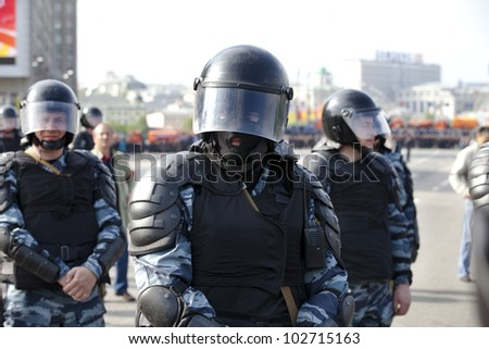 MOSCOW - MAY 06: View of police on march of millions protest Vladimir Putin's government, May 6, 2012 in Moscow near Bolotnyaya square, Russia.
