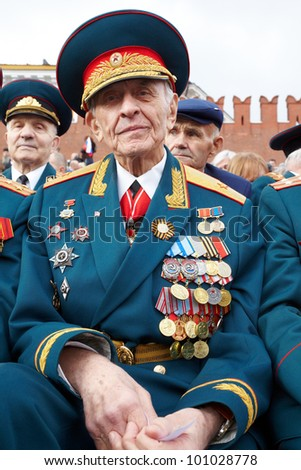 MOSCOW - MAY 9: World War II veteran, a retired general  Linnik V.I. on Victory Day celebration on Red Square, May 9, 2011, Moscow, Russia. Veteran is awarded with many orders and medals.