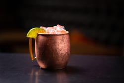 Moscow mule in a copper cocktail mug
