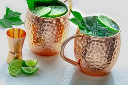 Moscow Mule Mug cocktail drinks on a white background
