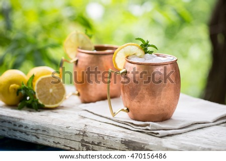 Moscow mules cocktail in copper mugs with lemon slices, green mint leaves and ice cubs