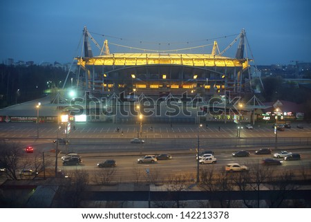 MOSCOW - NOV 18: Lokomotiv football stadium at night, Nov 18, 2012, Moscow, Russia. Stadium is one of best in Russia in technical equipment and originality of design.