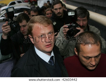 MOSCOW - NOVEMBER 10: Alexei Dymovsky, the policeman who speaks out against corruption in his YouTube address to Prime Minister Putin, arrives to a news conference November 10, 2009 in Moscow, Russia. - stock photo