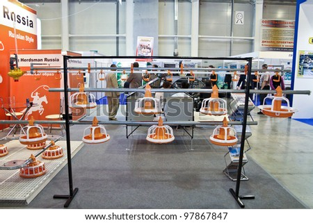 MOSCOW-NOVEMBER 13:  Feeding system for animal at the international exhibition of meat industry, Chicken King VIV Russia on November 13, 2011 in Moscow