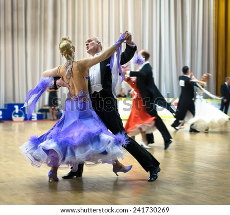 Moscow, November 15,2014: Unidentified Professional senior ballroom dance couple performs Adult senior Standard program on Ballroom Competition in November 15, 2014 in Moscow