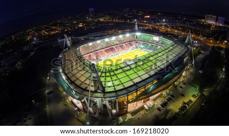 MOSCOW - OCT 21: Night view from unmanned quadrocopter to Lokomotiv Stadium with football field and spectators on October 21, 2013 in Moscow, Russia.