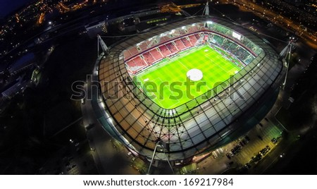 MOSCOW - OCT 21: Night view from unmanned quadrocopter to Lokomotiv Stadium with football field on October 21, 2013 in Moscow, Russia.