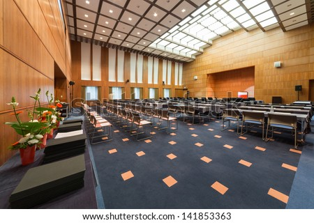 Moscow - Oct 10: The Modern Conference Room With Chairs And Tables At The Embassy Of Japan On October 10, 2012 In Moscow, Russia.