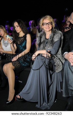 MOSCOW - OCTOBER 21: Evelina Khromchenko L'Officiel editor sitting at front row at the Ludmila Norsoyan Collection for S/S 2012 during Mercedes-Benz Fashion Week on October 21, 2011 in Moscow Russia