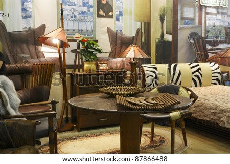 MOSCOW OCTOBER 26 Exhibition Of Furniture Made Of Palm Tree Fijian