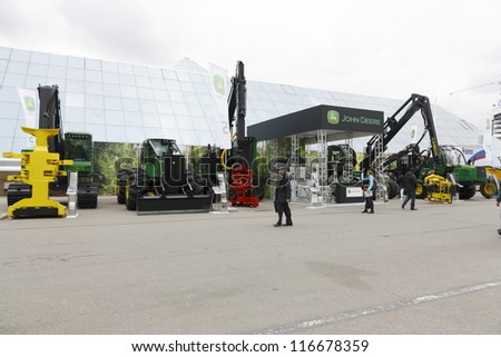 MOSCOW- OCTOBER 24:Forestry Equipment of the American company John Deere at the International exhibition LESDREVMASH on October 24,2012 in Moscow