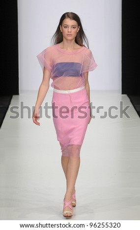 MOSCOW - OCTOBER 22: Model walks runway at the Costume National Collection for Spring/ Summer 2012 during Mercedes-Benz Fashion Week on October 22, 2011 in Moscow, Russia