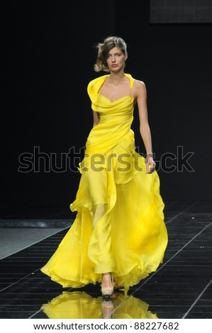 MOSCOW - OCTOBER 28: Model walks the runway at the Natalia Kolikhalova Collection for Spring/ Summer 2012 during Volvo Fashion Week on October 28, 2011 in Moscow, Russia