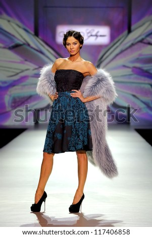 MOSCOW - OCTOBER 25:The model walks a runway in a collection of Igor Gulyaev,  Volvo Fashion Week October 25, 2012 in Moscow, Russia