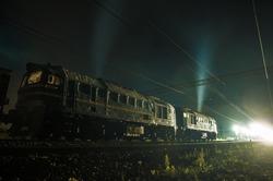 Moscow region, night railway, diesel locomotive at work, terminal station, hard job, renewing the track, track repair