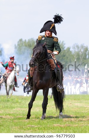 MOSCOW REGION, RUSSIA - MAY 29: Re-enactment of the Borodino battle between Russian and French armies in 1812. May 29, 2011 in Borodino, Russia