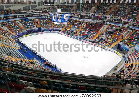 MOSCOW, RUSSIA - APR 26: General view of palace of sports 'Megasport' for World championship of figure skating on April 26, 2011 in Moscow.