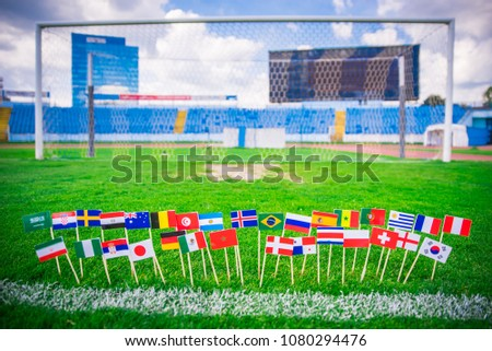MOSCOW, RUSSIA - APRIL, 24, 2018: All nations flag of FIFA Football World Cup 2018 in Russia. Fans support concept photo. #1080294476