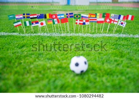 MOSCOW, RUSSIA - APRIL, 24, 2018: All nations flag of FIFA Football World Cup 2018 in Russia. Fans support concept photo. #1080294482