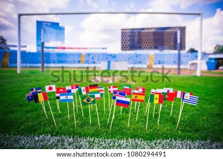 MOSCOW, RUSSIA - APRIL, 24, 2018: All nations flag of FIFA Football World Cup 2018 in Russia. Fans support concept photo. #1080294491