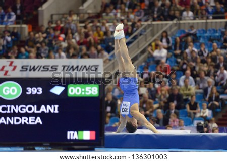 MOSCOW, RUSSIA - APRIL 20: Andrea Cingolani, Italy performs the floor exercise in the final of 5th European Championships in Artistic Gymnastics in Moscow, Russia on April 20, 2013