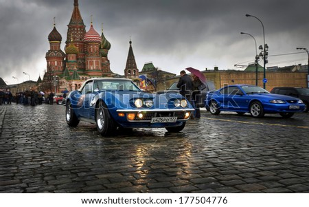 MOSCOW, RUSSIA - APRIL 24, 2010: Chevrolet Corvette Sting Ray on the traditional spring rally of retro cars in Moscow. Start on the Red Square.