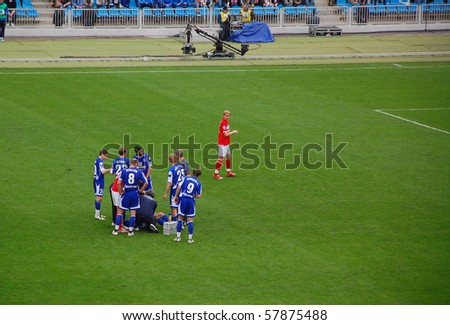 MOSCOW, RUSSIA - APRIL 13: Roman Pavlyuchenko/Spartak is looking back after being sent off for foul play April 13, 2008 at Dynamo stadium, Moscow, Russia. Dynamo vs Spartak 4:3.