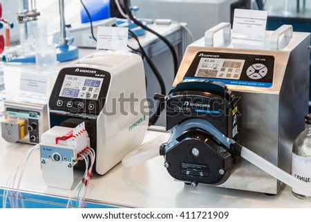 MOSCOW, RUSSIA - April 12, 2016: 14th International Exhibition of laboratory equipment and chemical reagents in Moscow. Medical equipment at the exhibition #411721909