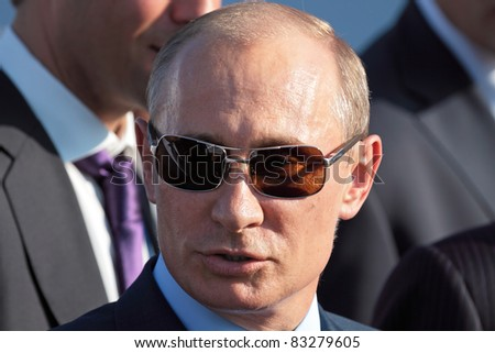 MOSCOW, RUSSIA - AUG 17: Vladimir Putin, Russian Prime Minister at the International Aviation and Space salon MAKS on Aug 17, 2011 at Zhukovsky, Russia