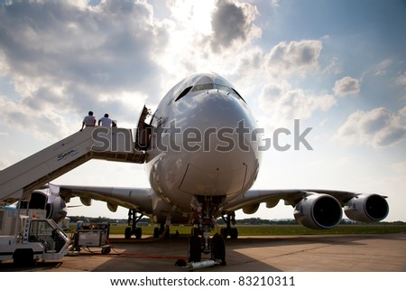 MOSCOW, RUSSIA, AUGUST 16: AIRBUS A380 at the International Aviation and Space salon MAKS 2011. August,16, 2011 at Zhukovsky, Russia
