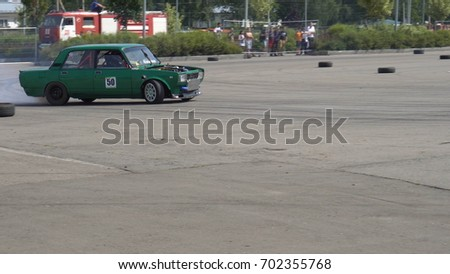 Moscow, Russia - August 19, 2017 : All- Russian annual festival of cars,competition drifting #702355768