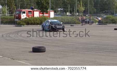 Moscow, Russia - August 19, 2017 : All- Russian annual festival of cars,competition drifting #702355774