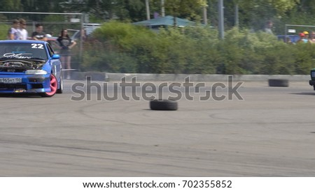 Moscow, Russia - August 19, 2017 : All- Russian annual festival of cars,competition drifting #702355852