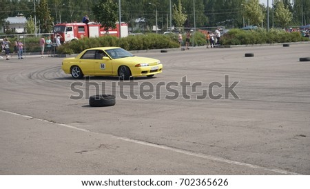 Moscow, Russia - August 19, 2017 : All- Russian annual festival of cars,competition drifting #702365626