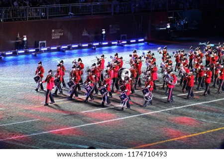 Moscow, Russia - August 24, 2018: Brentwood Imperial Youth Band  performing at 'Spasskaya Tower 2018' international festival of military bands. #1174710493